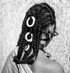 Africa | Details of the hairstyle worn by a Ida Oumribet woman.  Bou Izakarn, Guelmim Province, southern Morocco | ca 1934 - 39 | ©Jean Besancenot