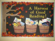 Reused my Halloween-themed bulletin board from October, replacing a tree full of spooky bats with harvest baskets filled with Thanksgiving-themed book covers.