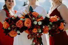 These bouquets pop with color. To see more of this wedding visit Teller of Tales Photography. Wedding Songs, Wedding Couples, Wedding Photos, Fall Wedding, Our Wedding, Wedding Ideas, Orange Wedding Colors, Sydney Wedding, Rustic Theme