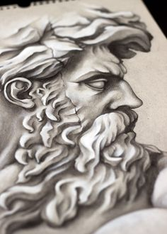1) I love the angle of the face. 2) The shading is so great; I really need to start working on my shading. 3) I'm pretty sure this is a Greek God - Zeus, perhaps?