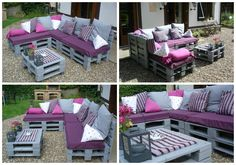 Garden lounge made with 11 recycled EURO pallets. Pallet Lounge, Pallet Patio, Pallet Sofa, Pallet Furniture, Garden Furniture, Outdoor Furniture Sets, Pallet Walls, Outdoor Spaces, Outdoor Living