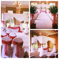 The Bride & Groom chose a Romantic Deep Red ColourScheme & Tied the Knot under our Lovely Wedding Canopy at Craxton Wood Hotel.