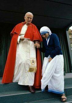 San Juan Pablo II y santa Madre Teresa