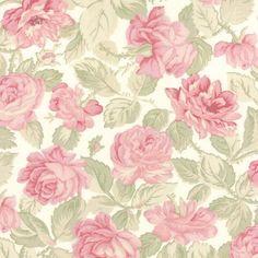 Coupon-de-Tissu-Patchwork-Moda-Grosses-Roses-Fond-Blanc-45x55cm