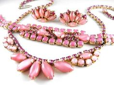 Vintage Necklace Bracelet Earring Set Cotton Candy Pink Rhinestones 1950s Classic
