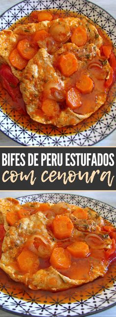 Do not know what to do for dinner? Here you can find the solution in this tasty and quick recipe of stewed turkey steaks with carrot. Turkey Steak Recipes, Meat Recipes, Real Food Recipes, Cooking Recipes, Chicken Recipes, Quick Recipes, Quick Easy Meals, Easy Dinners, Peruvian Recipes