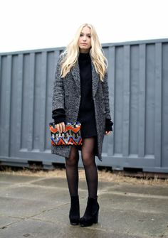 love the clutch & this outfit looks cozy