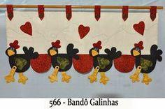 Bandô de cortina galinhas, com moldes.