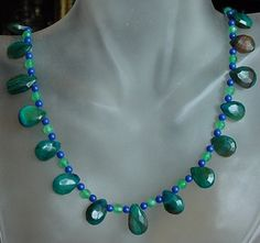 Green Blue Brown Agate High Cut Faceted Necklace  19lg by camexinc, $38.00