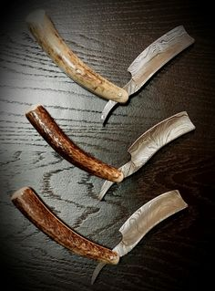 Handmade Damascus steel straight razor with Stag by OrestGrain - If I still shaved I would have one of these!