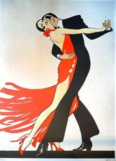 Tango (Projet pour la Gaumont), 1984. René Gruau (Italian/French, 1909-2004). Lithograph. India ink, crayon and watercolor.