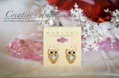 Multi Clear Rhinestone Owl Earrings