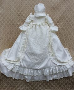 Victorian Gown/Heirloom Christening Silk Gown/Baptism Gown/Couture Christening /