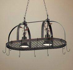 2 Light Bronze Finish Hanging Pot Rack Chandelier traditional-chandeliers
