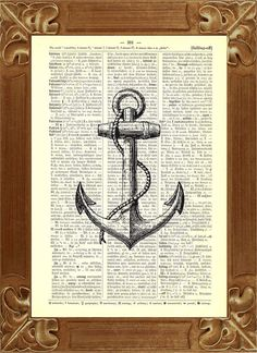 Black Anchor Print Upcycled Book Print Upcycled by PrintLand, $9.50