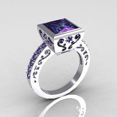 Classic Bridal 14K or blanc 2,5 carats carrée princesse Alexandrite bague R309-14WGAL