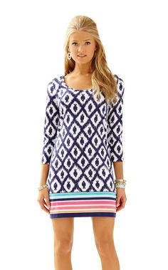 Beacon T-Shirt Dress - Lilly Pulitzer Bright Navy Little Fish Engineered Beacon Dress