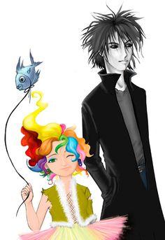 Delirium & Dream. He's tall, she's short. Fish balloon. XD