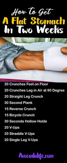 To Get A Flat Stomach In Two Weeks Abs Exercises to flatten those love handles and reveal those abs.Abs Exercises to flatten those love handles and reveal those abs. Weight Loss Challenge, Weight Loss Tips, Lose Weight, Ab Challenge, At Home Workout Plan, At Home Workouts, Workout Plans, Fat Workout, Flat Tummy Workout