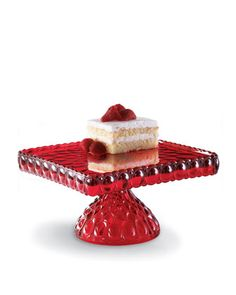 Red Glass Cake Plate at Horchow.
