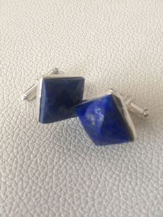 Lapis Lazuli Faceted Cabochon  cufflinks 925 silver - No reserve - Catawiki