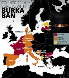 В каких странах Европы действует запрет на ношение паранджи?