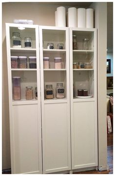 Well this is smart! I never would have thought of putting Ikea Billy bookcases in my pantry. Love this Ikea hack.it's perfect for pantry organization. Ikea Pantry, Pantry Storage, Pantry Organization, Locker Storage, Standing Pantry, Billy Regal, Ikea Decor, Ikea Billy Bookcase, Shelving