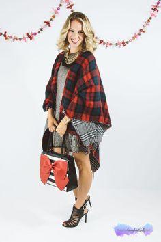 Christmas Fashion, Holiday Dressing, metallic dress, plaid blanket scarf, tartan, brunch with girlfriends
