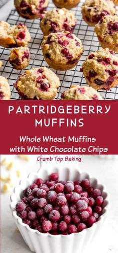 Partridgeberry Muffins are made with Newfoundland partridgeberries and white chocolate chips. They're sweet and tart, and incredibly easy to make! Fruit Recipes, Muffin Recipes, Cupcake Recipes, Baking Recipes, Dessert Recipes, Fall Recipes, Cookie Recipes, Snack Recipes, Cookies