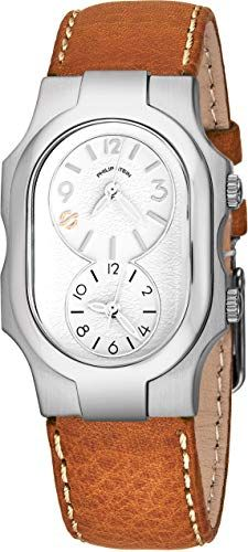 364904c68 ... Philip Stein Signature Womens Natural Frequency Technology Watch -  Classic White Face Dual Time Zone Ladies Watch - Stainless Steel Brown Leather  Band ...