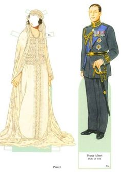 Elizabeth, the Queen Mother, Paper Doll and his Husband Prince Albert in Wedding Outfits