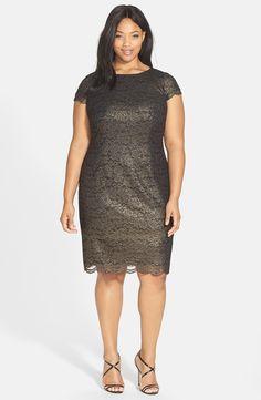 Alex Evenings Cap Sleeve Metallic Lace Sheath Dress (Plus Size)