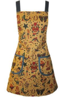 Funky Tattoo Inspired apron which could also be worn for Good Luck with all the lucky charms found hiding within this magical fabric print.