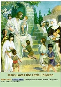 This Sunday school lesson is about the incident in Mark 36 where Jesus gathered the children to himself while teaching the disciples. It is designed to help children understand how much Jesus loves them and to encourage them to pray and make time to be with Jesus everyday.
