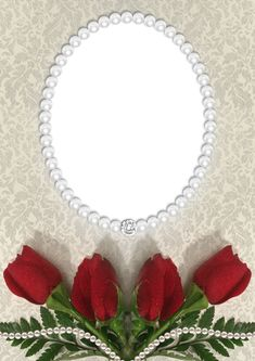 Roses and Pearls Transparent PNG Frame