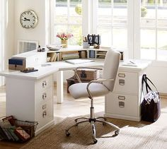 We already have Bedford Corner Desk Set from Pottery Barn, so I'm hoping we can incorporate it into our condo living room. White Vintage Desk Chair, Home Office Design, Home Office Decor, Home Decor, Pottery Barn Desk, Guest Room Office, Desk Office, Bedroom Desk, Desk Storage