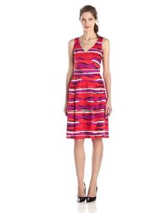 32c8a68719405d Anne Klein Women's Printed V Neck Fit and Flare Dress, Fuchsia Combo, 2 at Amazon  Women's Clothing store: