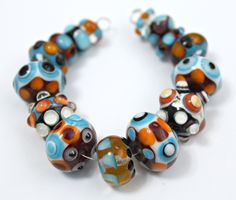 Handmade Artisan Lampwork Glass Bead Set by blancheandguy on Etsy