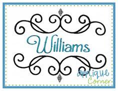 Williams Embroidered Font Frame Design