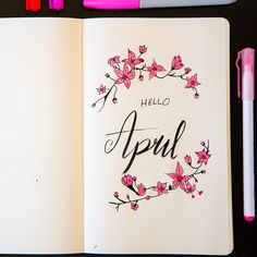 Hello April.. Cherry blossom inspired monthly cover. #bujo #bulletjournal #journal #journaling #bujoinspire #bujoideas #helloapril