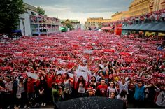 Poznan Poland, Fan Zone during UEFA EURO 2012, Polish fans