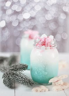 "butteryplanet: "" • white chocolate • milk • mint syrup • mini marshmallows """