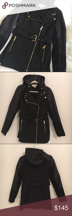 MICHAEL KORS hooded rain  jacket Black hooded waist length trenchcoat with gold hardware by Michael Kors. This jacket is water resistant and has lots of style. It is a great weight for fall and winter and has a faux fur lining.Small measures 19 inches across from armpit to armpit and the shoulders 15 inches. Medium measures 21 inches across from armpit to armpit and the shoulders 16 inches. Large measures 22 inches across  from armpit to armpit and and the shoulders 17 inches. Michael Kors…