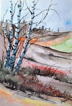 Acuarela pintura ORIGINAL pintura original acuarela por pinetreeart