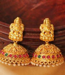f69a62089 Buy GORGEOUS ANTIQUE DESIGNER PINK-GREEN LAKSHMIJHUMKKA jhumka online  Indian Style, Indian Jewelry,
