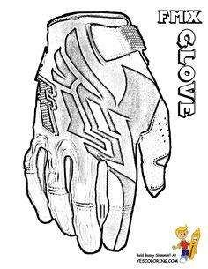 motorcycle coloring of dirt bike glove