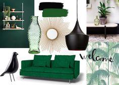 Planche d'ambiance / Noir mat et vert foncé Décoratrice d'intérieur à Rouen