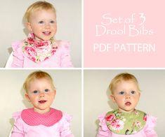 Baby bib pattern, Baby sewing pattern PDF, Bandana bib, Infant Children Newborn Toddler, Instant Download, DROOL BIBS