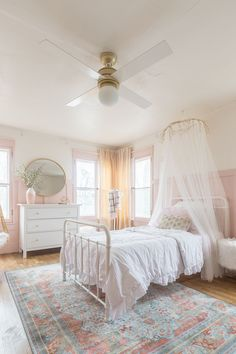 Pink and Gold Girls Bedroom & ORC Reveal The post Pink & Gold Girls Bedroom Decor Ideas appeared first on Baby Room Ideas. Pink Bedroom For Girls, Big Girl Bedrooms, Pink Bedrooms, Little Girl Rooms, Girls Bedroom Canopy, Preteen Girls Rooms, Girls Pink Bedding, Girls Daybed, Pink Bedroom Walls