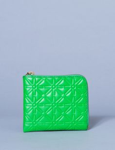 embossed corner zip wallet